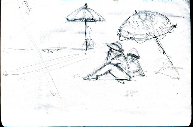 arena y sombrilla